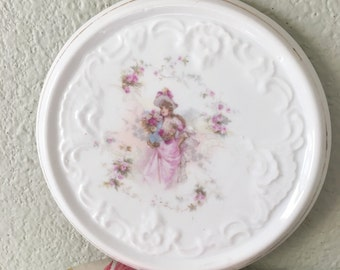 German Tea Trivet with Purple Lilac Flowers and Girl