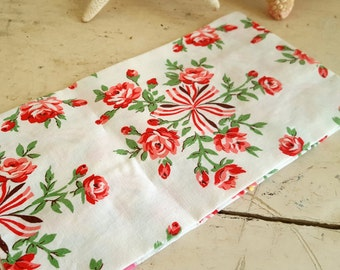 Tea Towel Blue With Pink Red Roses Flowers Floral