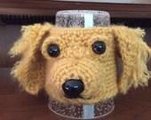 Crochet // Golden Retriever // Dog // Coffee Cozy // Water Bottle Cozy // Handmade
