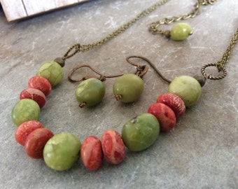 Orange Red Green Jasper Necklace Earring Set Earthy Southwest  1.99 Shipping USA