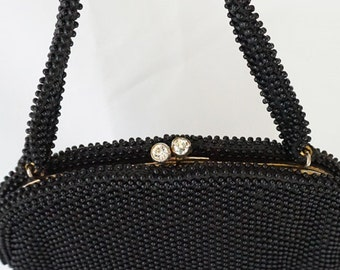 Vintage 1950s Handbag Black Beaded Corde Bead with Rhinestone Clasp