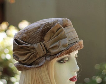 Edwardian Hat Downton Abbey Riding Bucket Steampunk Fabric in Brown Taupe