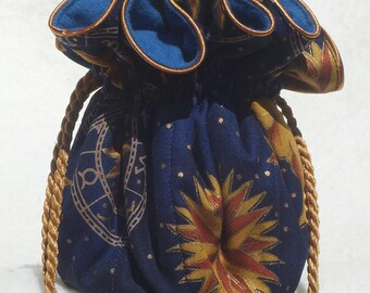 Anti Tarnish Celestial, zodiac Jewelry Pouch with blue lining