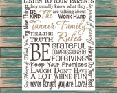 Family Rules Digital Print Typography Personalized