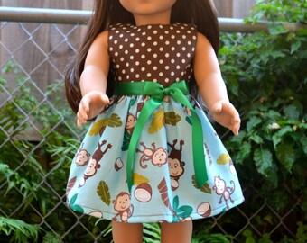 "18"" Doll Dress - Polka Dots & Monkey - Brown Blue  Green"