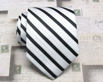 Mens Ties. Necktie Black and White Stripes Mens Tie