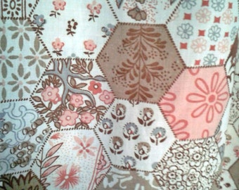 Large Fabric Remnant - Brown Hexagon Print