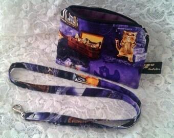 SALE - Handbag Gift Set - Cosmetic Purse, Make Up Bag, Lanyard - Scaredy Cat Purple Cotton Fabric