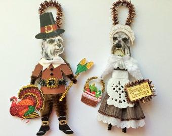 Schnuazer THANKSGIVING PILGRIM ornaments Dog ornaments vintage style chenille ORNAMENTS set of 2