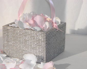 Flower Girl Basket + Silver Rhinestone wrapped wood Flower Girl Basket with ribbon Handle  (6 x 6)