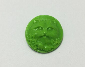 Cat Face - Bright Green - Hand Made Clay Button