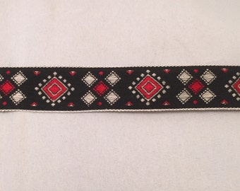 Vintage Jacquard Ribbon - Red White & Red Diamond Geometric -2 yards-