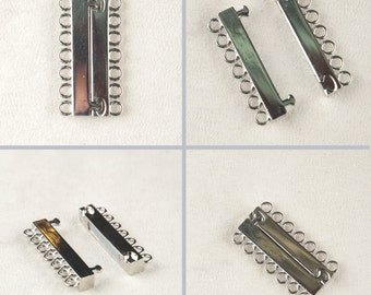Magnet Silver Clasp , Jewelry Supply , Cuff Bracelet Clasp , One clasp , DIY jewelry kit , 6 rows tube clasp