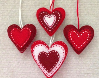 Valentine heart ornaments Red and White felt hearts Set of four
