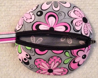 Circle earbud zippy zip pouch coin purse pink and grey floral print