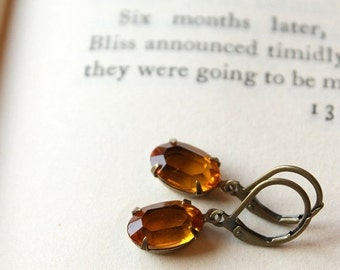 On SALE / CIJ Sale / Vintage Swarovski Jewel Earrings, Gold Glass, Light Topaz, Crystal Glass Jewel, Hollywood Glam, Antiqued Brass, Translu