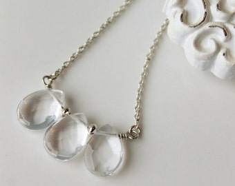 Rock Crystal Necklace / Clear Crystal Necklace in Sterling Silver / Crystal Gemstone Jewelry