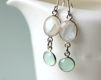 Rainbow Moonstone and Aqua Chalcedony Dangle Earrings / Moonstone gemstones / Gemstone Jewelry /  Elegant Earrings / White and Aqua