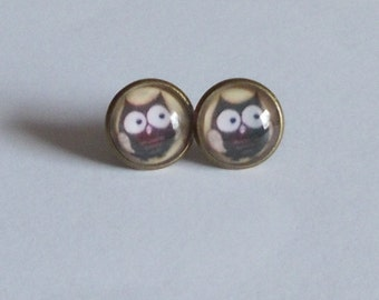 Ohrstecker Cabochon Eule bronze