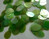 7g of Flat Oval Sequins in Green Iridescent Color -- 12x9mm.