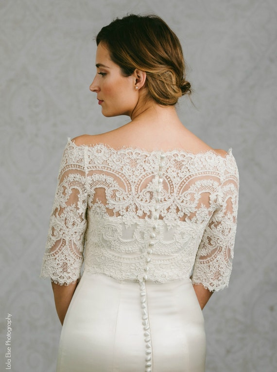 Lace bridal bolero lace bolero bridal topper bianca for Off the shoulder wedding dress topper
