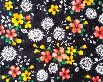 "NOW ON SALE vintage fabric - Dandelion Floral - cotton crepe ""Marvella"" - almost 1 yard - 36x35 inches"