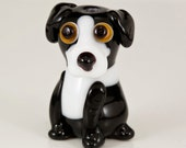 Black and White Collie Lab Dog Lampwork Bead