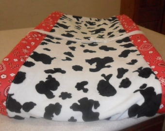 Red Bandana and Cow Minky Changing Pad Covers