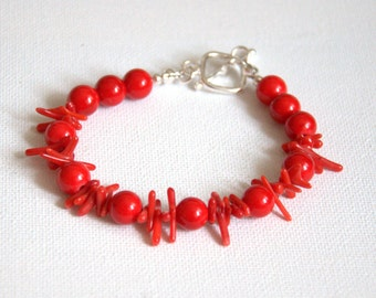 Red coral bracelet red jewellery set Valentine gift for her round beads chip necklace bracelet earrings jewelry Birthday gift for her
