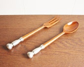 Wooden serving set, Pewter handle, Italy