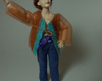 orange-turquoise shirt / top - 1/12th scale wearable miniature fashion by cwpoppets