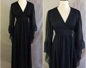 Vintage 70s Black Maxi Gown