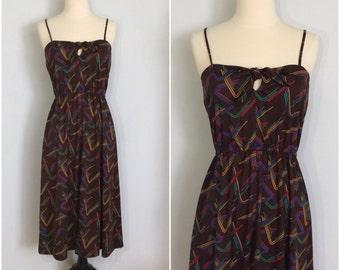 Vintage 70s Dark Brown Printed Dress