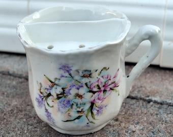Antique Victorian Mustache Cup - c1900 White Porcelain Floral Bouquet - Lilacs