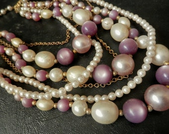 VINTAGE BEADED NECKLACE 7 Strands Lustrous Pearls Pale Lavenders and Pinks Chain