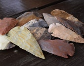 Arrowhead Pendants, Stone Arrowheads, Tribal Arrowheads, 6 pendants