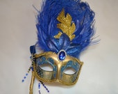 Blue and Gold Venetian Stick Mask