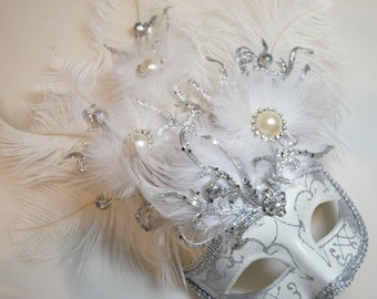 Gorgeous White Pearl and Silver Mask