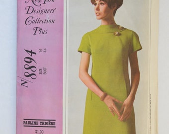 1960s New York Designers Collection Pauline Trigere Sewing Pattern 8894 Womens Retro Mod Dress w/ Princess Seams, Short Sleeves Size 14