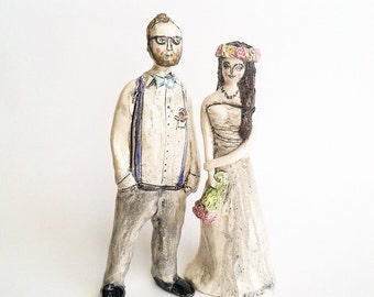 Hipster wedding cake toppers ceramic figurines