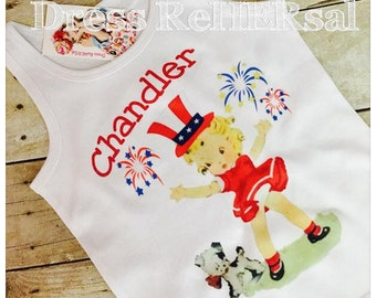 Patriotic vintage girl tank top or ruffle shirt perfect for July 4th add personalization name for free