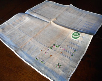 VINTAGE Embroidered Flower on Tan Handkerchief