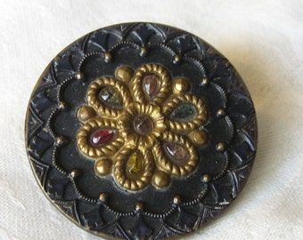 Large VINTAGE Perforated Jewel Flower Metal & Celluloid Button