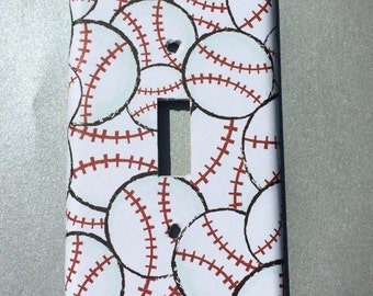 baseball sports Switchplate Double Triple Rocker Dimmer Blank Cable Outlet