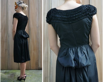 "Vintage 50's/60's Black Ruffled Evening Dress with Giant Bow ""Bustle"" and Train by Jonathan Logan 
