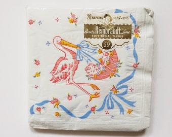 """Deadstock Vintage Baby Shower Napkins with Stork and Baby in an Umbrella by Reed's Rembrandt Line 