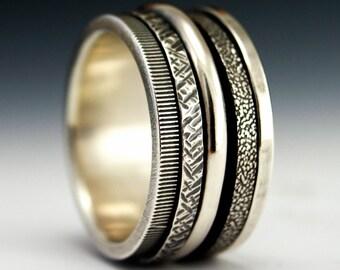 Kinetic Series - Energy.  Sterling Silver Spinner Ring
