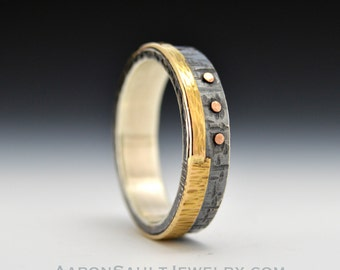 Balance Series - Poise.  Oxidized Sterling Silver and 14K Gold