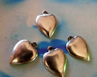 Sterling Silver Ox Plated Brass Heart Charms 2173SOX x4