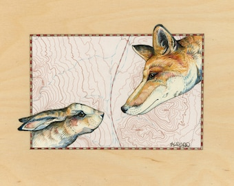 Fox and Hare art on topography map, Archival print, wildlife illustration, animal print, wall art Fox illustration, rabbit painting